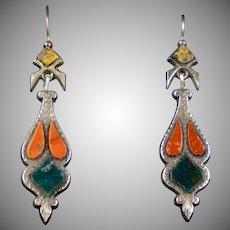 Scottish Victorian Sterling Agate Earrings