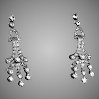 Art Deco Sterling Silver Paste Chandelier Earrings
