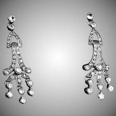 Art Deco Sterling Silver Paste Chandelier Earrings