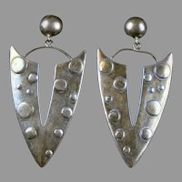 Stunning Vintage Large Sterling Silver Earrings