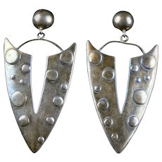 Stunning Vintage Large Sterling Silver Earrings
