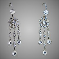 Art Deco Sterling Paste Chandelier Earrings