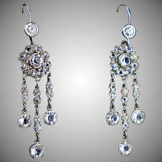 Art Deco Sterling Paste Chandelier Earrings