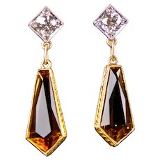 48f74e3f2cb80 Sublime Vintage Art Deco 935 Silver Lemon Citrine Earrings ...