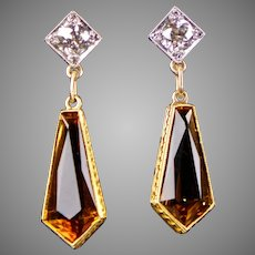 Art Deco Diamond Citrine Drop Earrings in 14K Gold