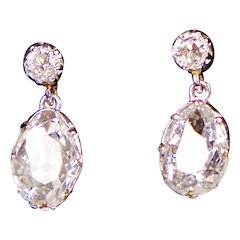 Large Diamond Drop Earrings in Platinum with Appraisal