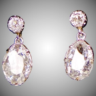 Large Diamond Drop Earrings in Platinum