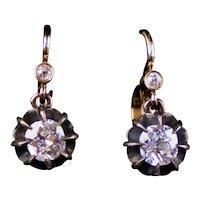 Victorian 14K Gold Double-Drop Diamond 1.85ctw Earrings