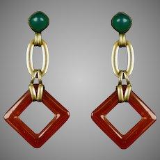 Art Deco Czech Glass Drop Earrings