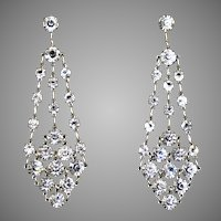 Dazzling Art Deco Chandelier Earrings Silver Crystal