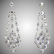 Dazzling Art Deco Chandelier Earrings Silver Crystal