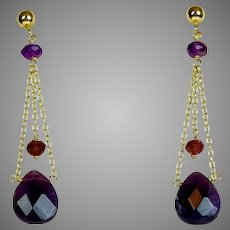 Vintage 14K Gold Amethyst Garnet Drop Earrings