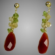 Vintage 14K Gold Carnelian Citrine & Peridot Drop Earrings