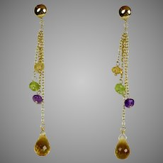 Vintage 14K Gold Citrine Briolette Drop Earrings