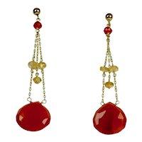 Vintage 14K Gold Carnelian Citrine Drop Earrings