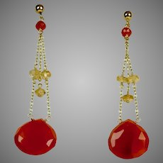 Vintage 14K Gold Carnelian Citrine Drop Earrings