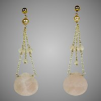 Vintage Long 14K Gold Pink Chalcedony Drop Pierced Earrings