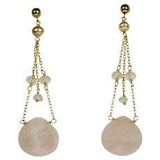 Vintage Long 14K Gold Pink Chalcedony Drop Pierced Earrings