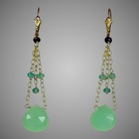 Vintage 14K Gold Peruvian Chalcedony Amethyst & Aqua Drop Earrings