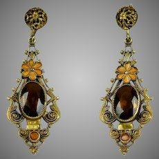 Art Deco Czech Topaz Glass Enamel Drop Earrings
