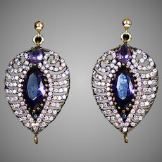 Art Deco 14K Gold & Sterling Amethyst & Crystal Earrings