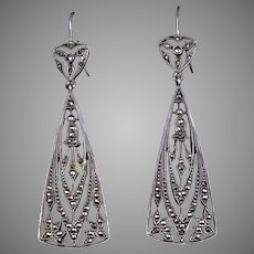 Art Deco Sterling Silver Marcasite Drop Earrings