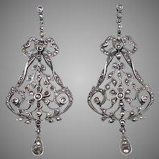 Victorian Sterling Silver Marcasite Drop Earrings