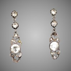 Art Deco Silver Diamond Paste Earrings