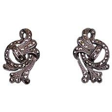 Art Deco Sterling Silver Marcasite Earrings
