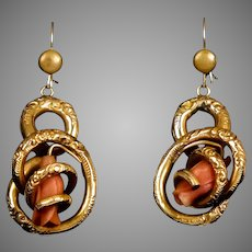 Victorian Coral Love Knot Earrings