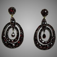 Stunning Victorian Bohemian Garnet Drop Earrings Pierced
