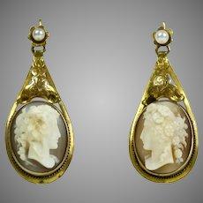 Long Victorian Gold Cameo Drop Earrings