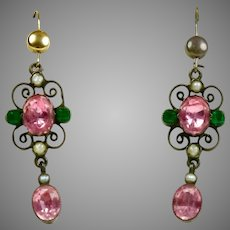 Edwardian Pink & Green Rock Crystal Drop Earrings