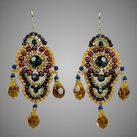 Miguel Ases Garnets, Swarovski, 14K GF Earrings