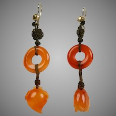 Elegant Art Deco Gold Carnelian Long Drop Earrings