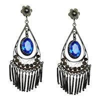 Alluring Art Deco Sterling Blue Paste Chandelier Earrings