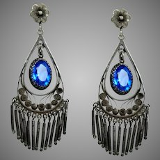 Alluring Art Deco Sterling Blue Paste Chandelier Earrings