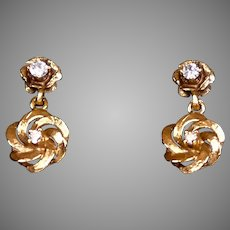 Vintage 14K Gold Diamond Drop Earrings