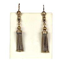 Victorian 14K Gold Long Tassel Earrings RARE