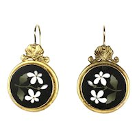 Lovely Victorian 18K Gold Floral Pietra Dura Earrings