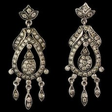 Vintage 18K Gold Diamond 1.74ctw Chandelier Earrings  Lots of Sparkle  Long  Stunning - Red Tag Sale Item