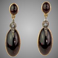 Stunning 18K Cabochon Garnet & Diamond Drop Earrings