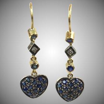 Pretty Vintage 18K Gold Sapphire & Diamond Heart Drop Earrings