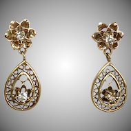 Sweet Vintage 14K Yellow Gold Diamond Drop Earrings   Lattice Filigree   Flower Tops