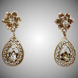Sweet Vintage 14K Yellow Gold Diamond Drop Earrings   Lattice Filigree   Flower Tops