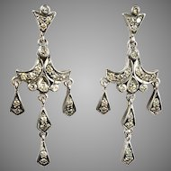 Lovely Vintage 18K Gold Diamond.Chandelier Earrings   Delicate   Deco Style   Sparkle
