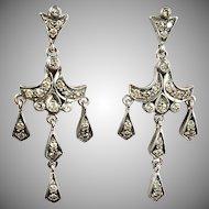 Lovely Vintage 18K Gold Diamond.Chandelier Earrings   Delicate   Deco Style   Sparkle