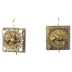 Exquisite Antique Victorian 14K Gold Intricate Bird Drop Earrings   Rose & Yellow Gold     Fine Detail