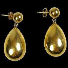Nice Vintage 14K Gold Large Tear Drop Earrings   Hollow   Lightweight - Red Tag Sale Item
