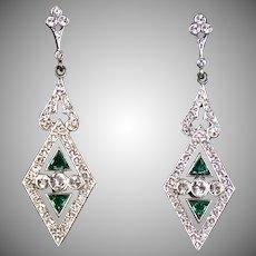 Long Art Deco Silver & Gold Emerald Paste Earrings